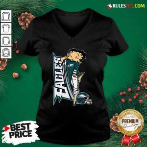 Betty Boop Philadelphia Eagles Football V-neck - Design By Rulestee.com