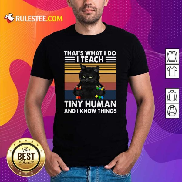 Black Cat Thats What I Do I Teach Tiny Human And I Know Things Vintage Shirt - Design By Rulestee.com