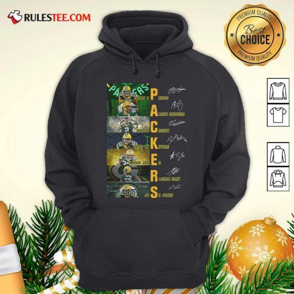 Green Bay Packers Jason Spriggs Aaron Rodgers Mason Crosby Signatures Hoodie - Design By Rulestee.com