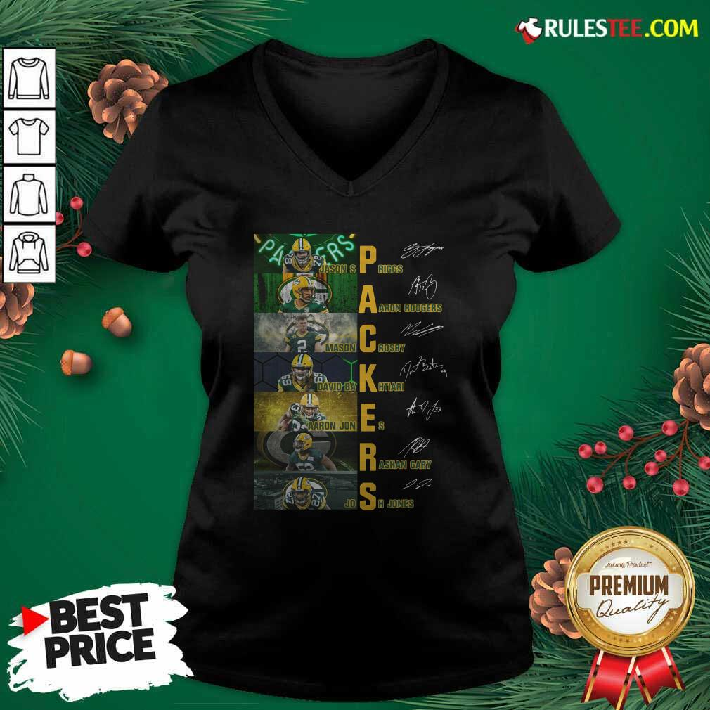 Green Bay Packers Jason Spriggs Aaron Rodgers Mason Crosby Signatures V-neck - Design By Rulestee.com