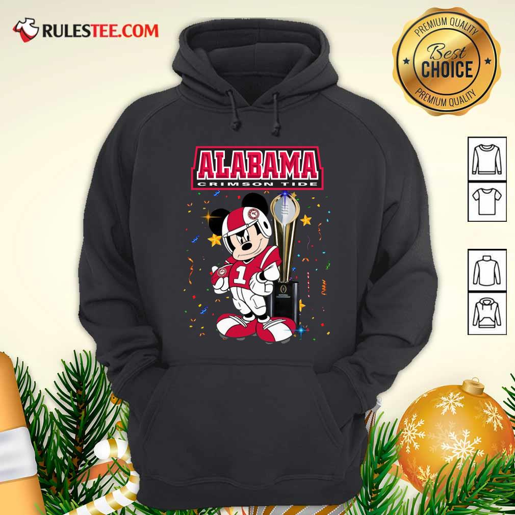 Mickey Mouse And Cup Alabama Crimson Tide Hoodie - Design By Rulestee.com