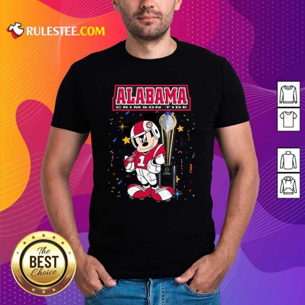 Mickey Mouse And Cup Alabama Crimson Tide Shirt - Design By Rulestee.com