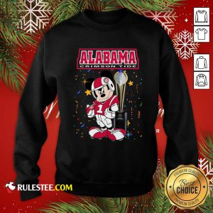 Mickey Mouse And Cup Alabama Crimson Tide Sweatshirt - Design By Rulestee.com
