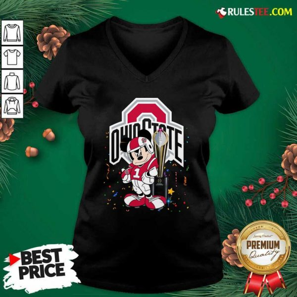 Mickey Mouse And Cup Ohio State Buckeyes V-neck - Design By Rulestee.com