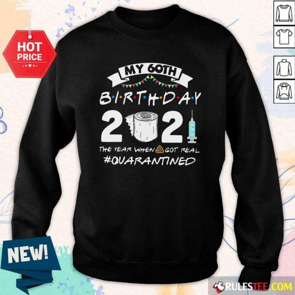 My 60th Birthday 2021 The Year When Got Real Quarantined Sweatshirt - Design By Rulestee.com