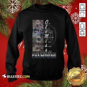 Ole Miss Luke Logan Aj Finney Braylon Sanders 2021 Outback Bowl Champions Sweatshirt - Design By Rulestee.com