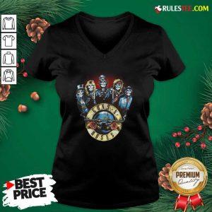 Skeleton Guns N Roses Rock Band V-neck - Design By Rulestee.com