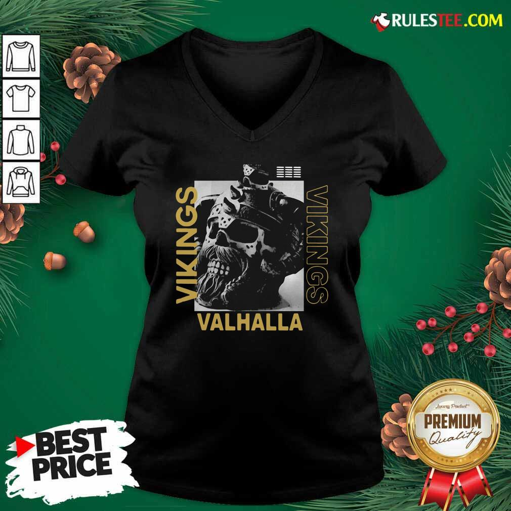 Vikings Yule Valhalla V-neck - Design By Rulestee.com
