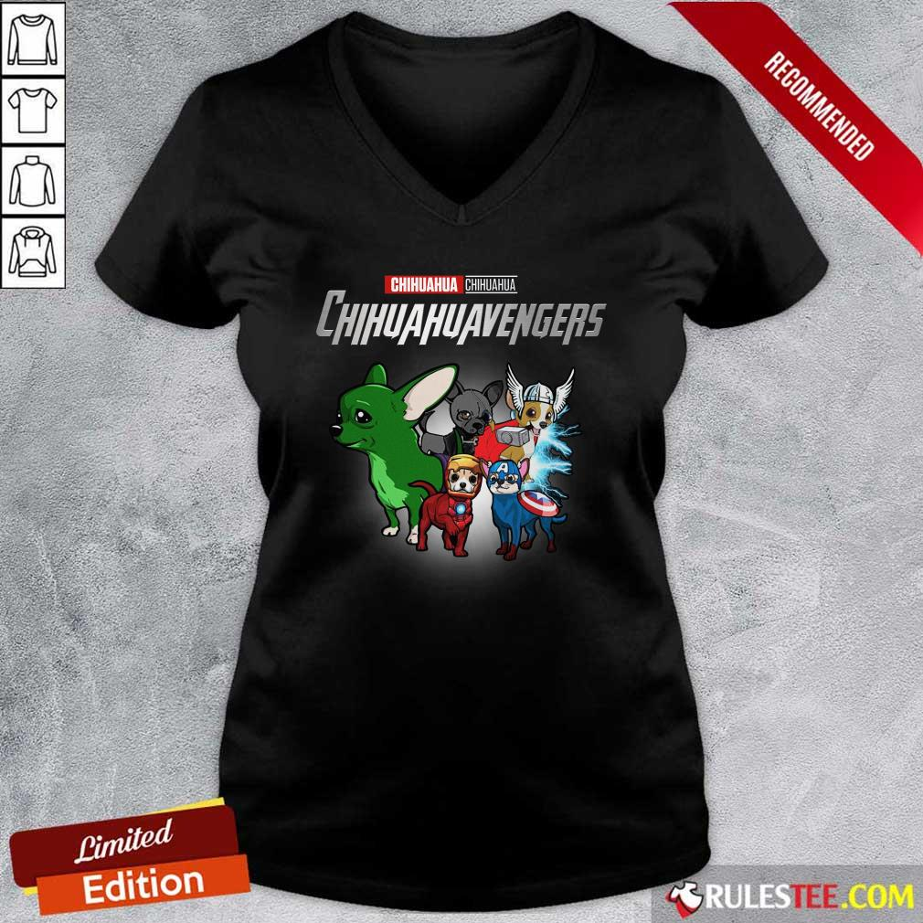 Chihuahua Marvel Avengers Chihuahuavengers V-neck - Design By Rulestee.com
