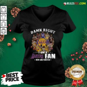 Damn Right I Am A Los Angeles Lakers Fan Now And Forever Signatures V-neck - Design By Rulestee.com