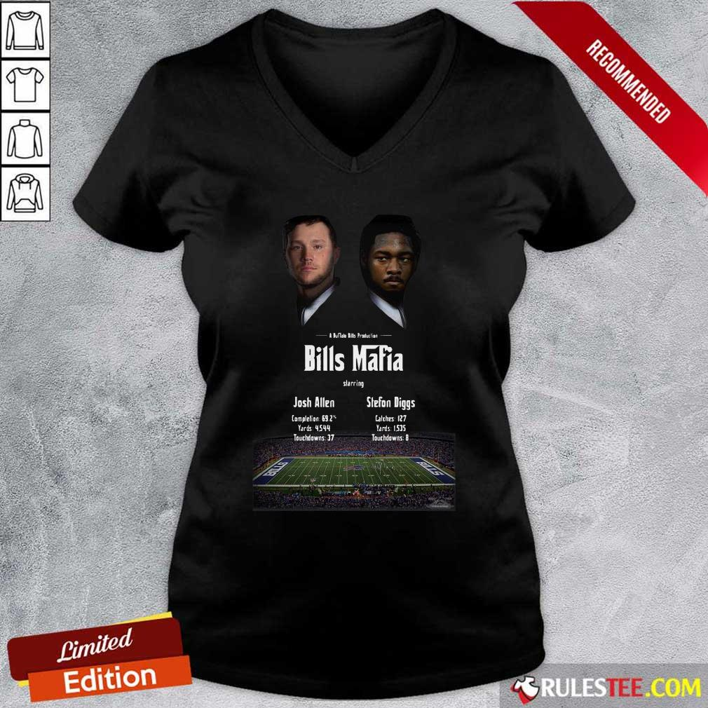 Josh Allen Vs Stefon Diggs In A Buffalo Bills Production Bills Mafia 2021 V-neck - Design By Rulestee.com