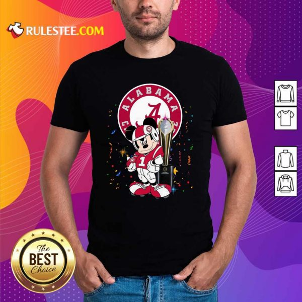Mickey Mouse And Cup Alabama Crimson Tide Football Shirt - Design By Rulestee.com