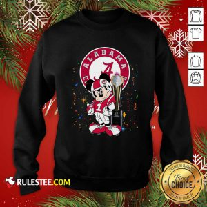 Mickey Mouse And Cup Alabama Crimson Tide Football Sweatshirt - Design By Rulestee.com