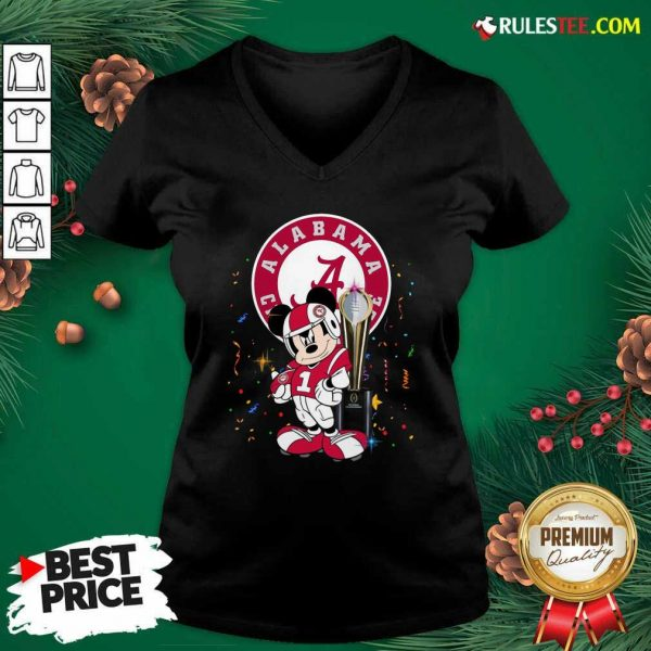 Mickey Mouse And Cup Alabama Crimson Tide Football V-neck - Design By Rulestee.com