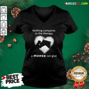 Nothing Compares To The Therapy A Horse Can Give Heart V-neck - Design By Rulestee.com