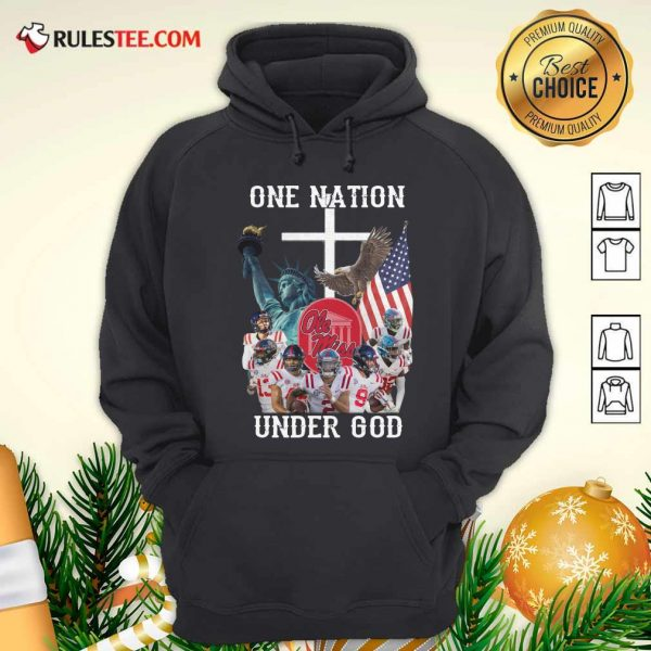 One Nation Under God Ole Miss Football American Flag Hoodie - Design By Rulestee.com