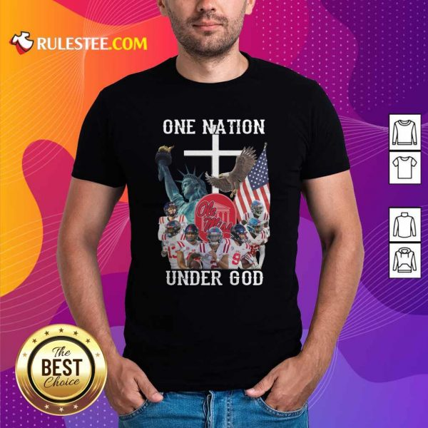 One Nation Under God Ole Miss Football American Flag Shirt - Design By Rulestee.com