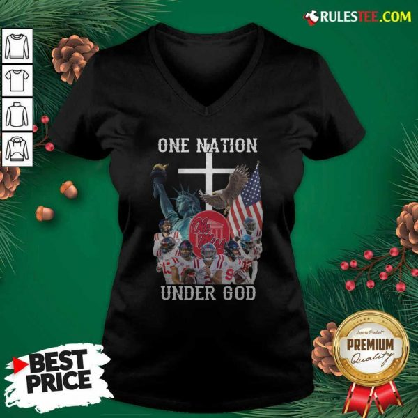 One Nation Under God Ole Miss Football American Flag V-neck - Design By Rulestee.com
