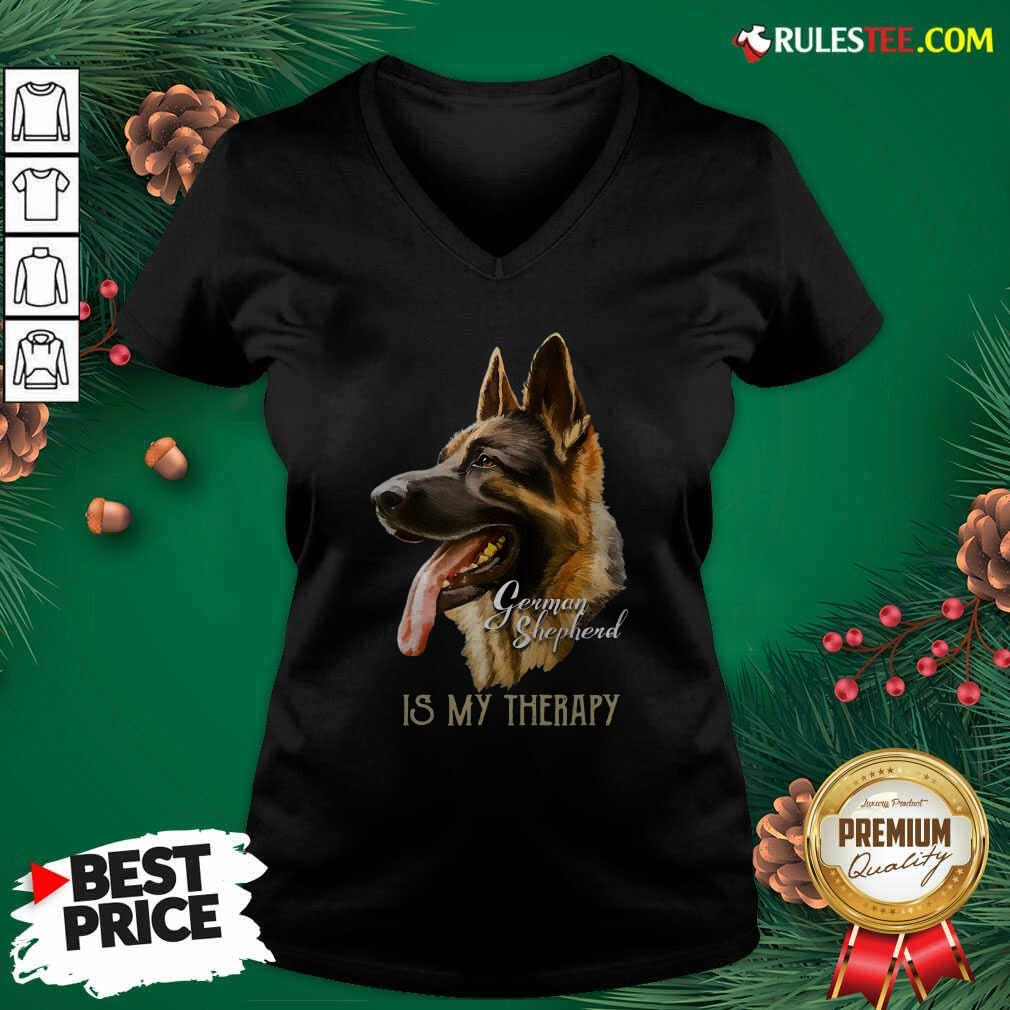 German Shepherd Is My Therapy V-neck - Design By Rulestee.com