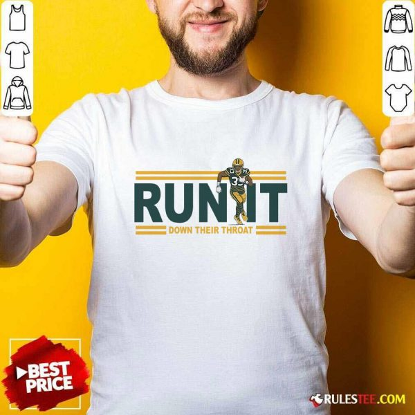 Aaron Jones Run It Down Their Throat Shirt - Design By Rulestee.com