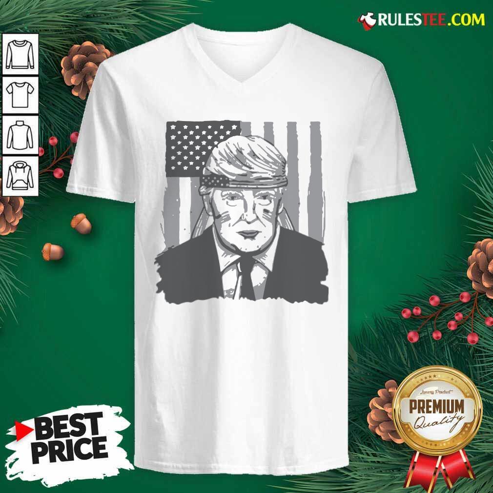 America Ribbon Usa Flag Donald Trump 2020 Graphic V-neck - Design By Rulestee.com