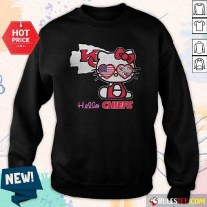 Hello Kitty Hello Kansas City Chiefs With American Flag 2021 Sweatshirt- Design By Rulestee.com