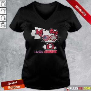 Hello Kitty Hello Kansas City Chiefs With American Flag 2021 V-neck - Design By Rulestee.com
