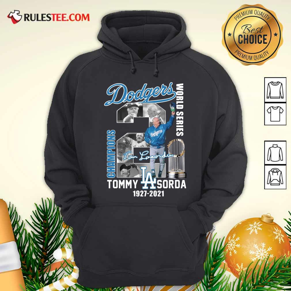 Los Angeles Dodgers Tommy Lasorda World Series 1927 2021 Signature Hoodie - Design By Rulestee.com