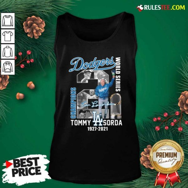 Los Angeles Dodgers Tommy Lasorda World Series 1927 2021 Signature Tank Top - Design By Rulestee.com