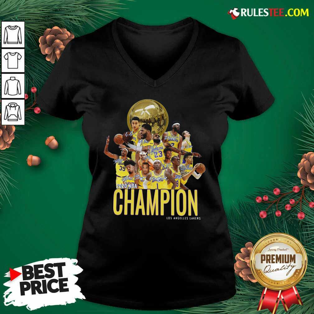 Los Angeles Lakers Champion 2020 NBA Signatures V-neck - Design By Rulestee.com