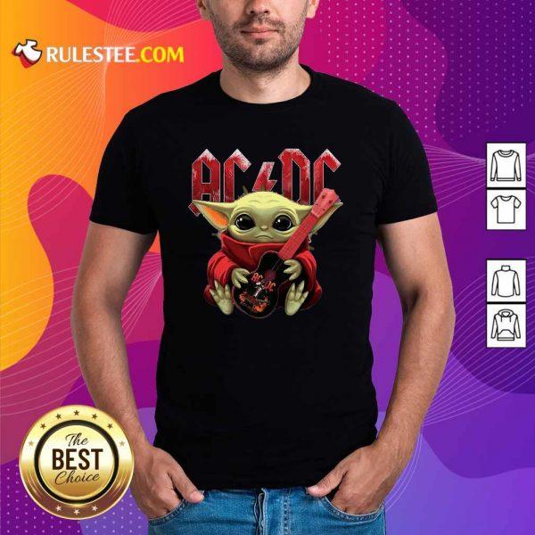 Star Wars Baby Yoda Hug Guitar With Ac Dc 2021 Shirt - Design By Rulestee.com