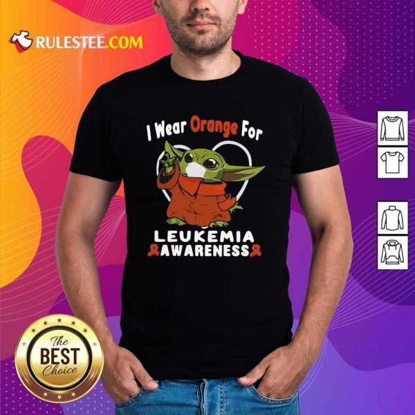 Baby Yoda Face Mask Wear Orange For Leukemia Awareness Shirt - Design By Rulestee.com