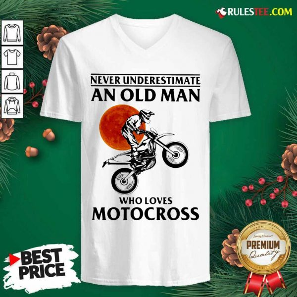 Never Underestimate An Old Man Who Loves Motocross The Moon V-neck - Design By Rulestee.com