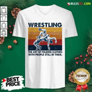 Wrestling The Air Of Folding Clothes With People Still In Them Vintage V-neck - Design By Rulestee.com