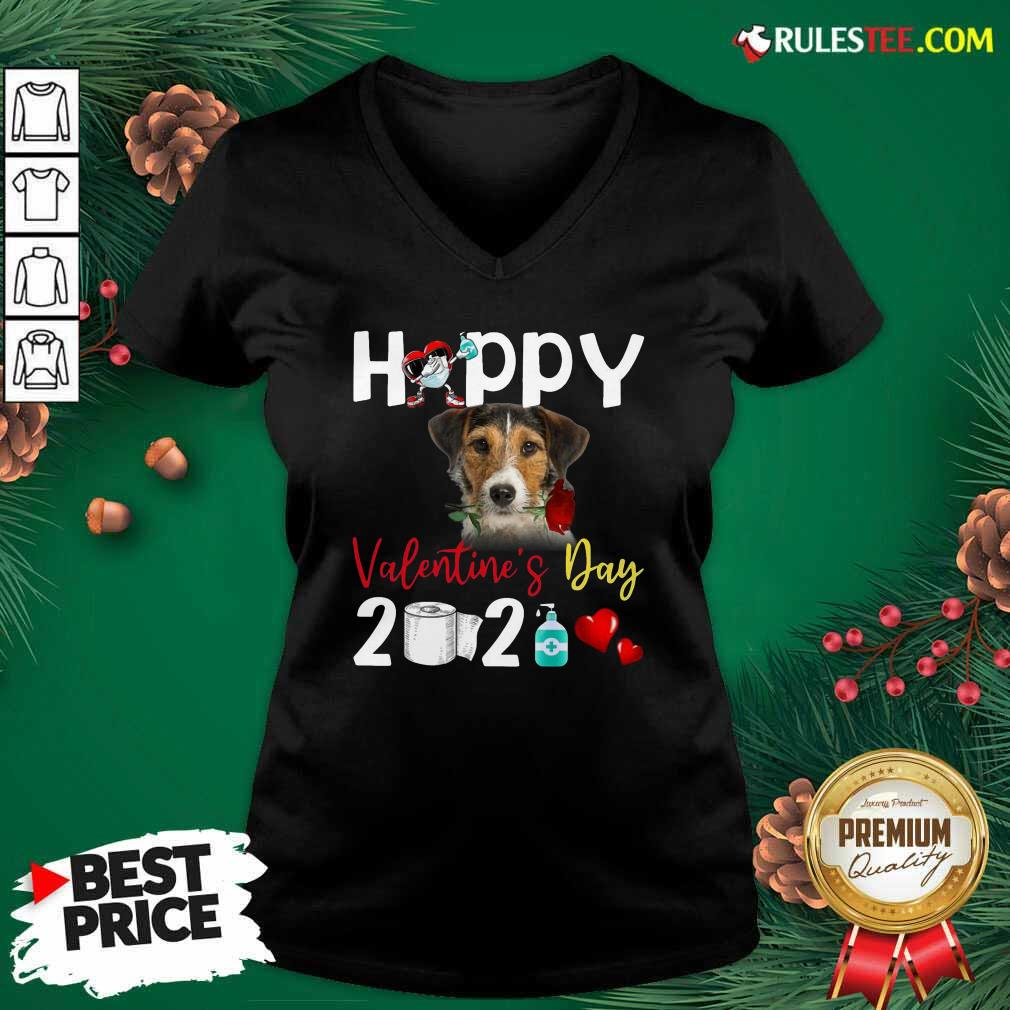 Fox Terrier Happy Valentines Day With Toilet Paper 2021 V-neck- Design By Rulestee.com