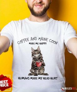 Amused Cat Coffee And Maine Coon Shirt