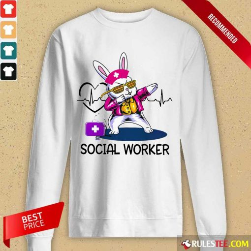 Delighted Bunny Nurse Dab Social Worker Long-sleeved