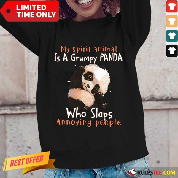 Enthusiastic Spirit Animal Grumpy Panda Long-sleeved