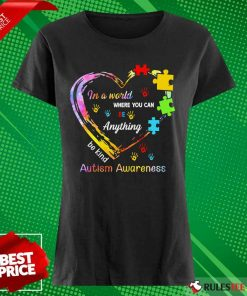 Funny In A World Where You Can Be Anything Be Kind Autism Awareness Ladies Tee