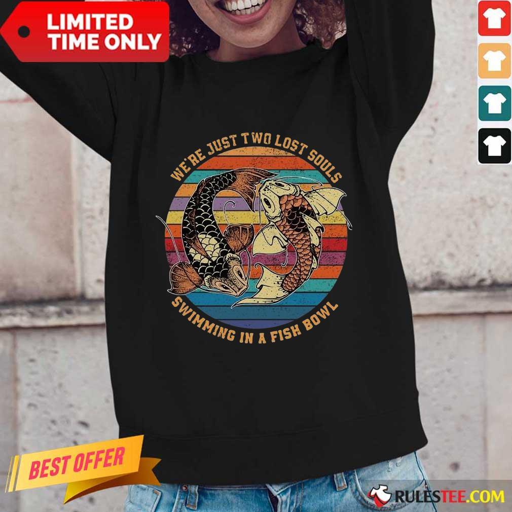 Happy Just Swimming Fish Bowl Vintage Long-sleeved