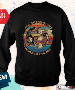Happy Just Swimming Fish Bowl Vintage Sweater