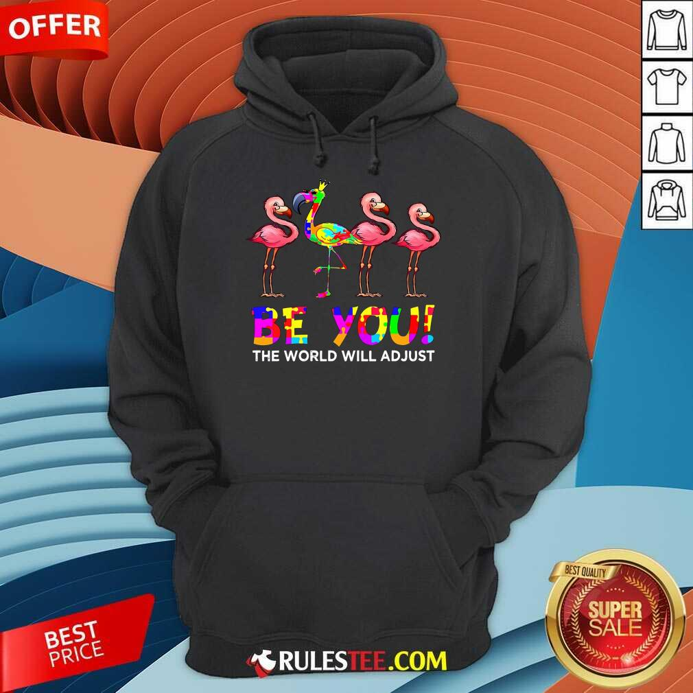 Nice Flamingo Be You The World Will Adjust Autism Hoodie