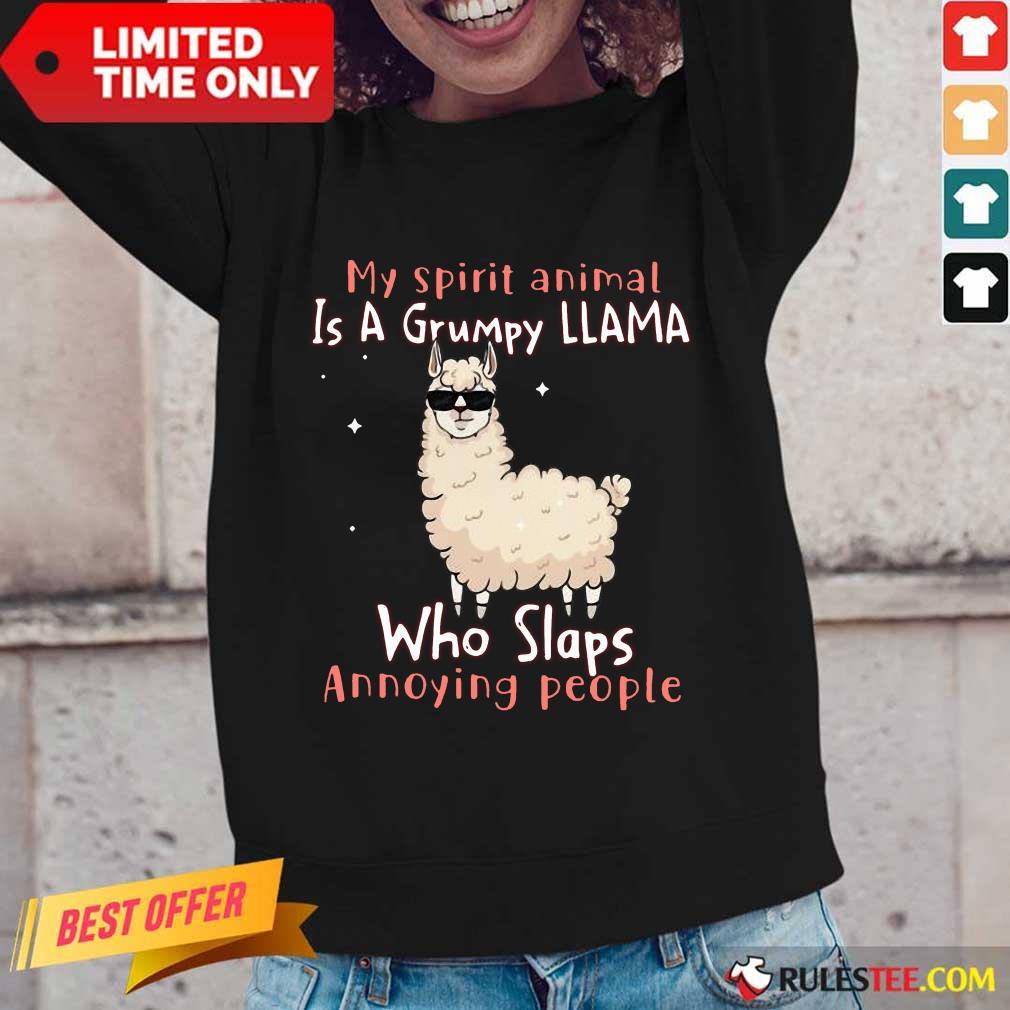 Overjoyed Spirit Animal A Grumpy Llama Long-sleeved