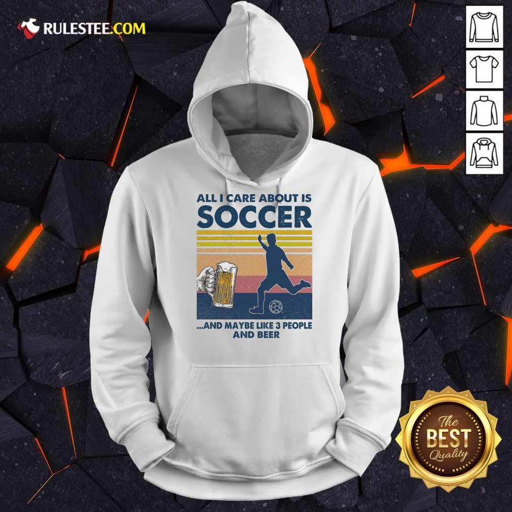Surprised Care Soccer And Beer Vintage Hoodie