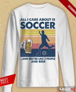 Surprised Care Soccer And Beer Vintage Long-sleeved
