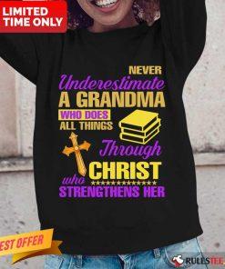 Surprised Underestimate A Grandma Her Long-sleeved