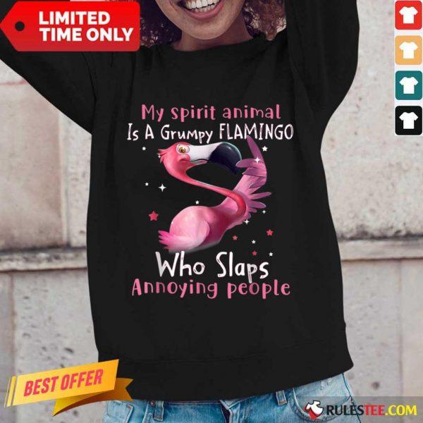 Wonderful Spirit Animal Grumpy Flamingo Long-sleeved