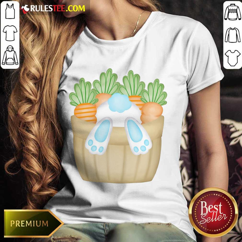Cute Easter Bunny Cottontail Carrot Basket Ladies Tee
