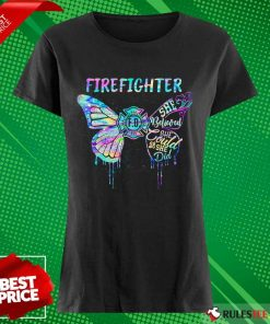 Funny Butterfly Firefighter She Believed She Could So She Did Colorful Ladies Tee
