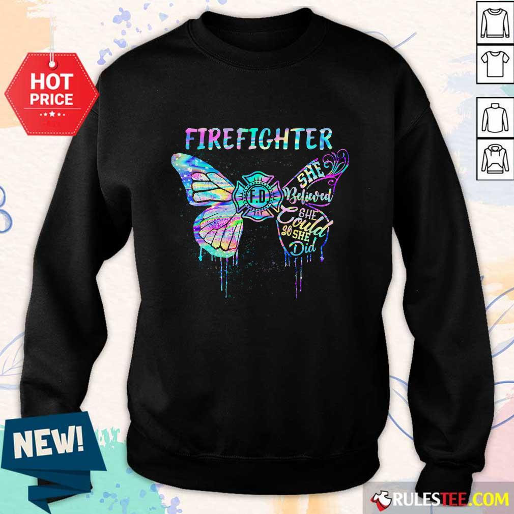 Funny Butterfly Firefighter She Believed She Could So She Did Colorful Sweater